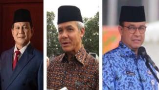 Prabowo Subianto, Ganjar Pranowo dan Anies Baswedan capres teratas di survei